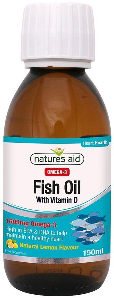 Nature 39 s aid fish oil with vitamin d 150 ml od ywki for Fish oil vitamin d