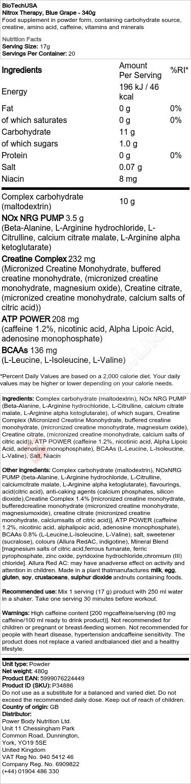 Nitrox Therapy, Blue Grape - 340g